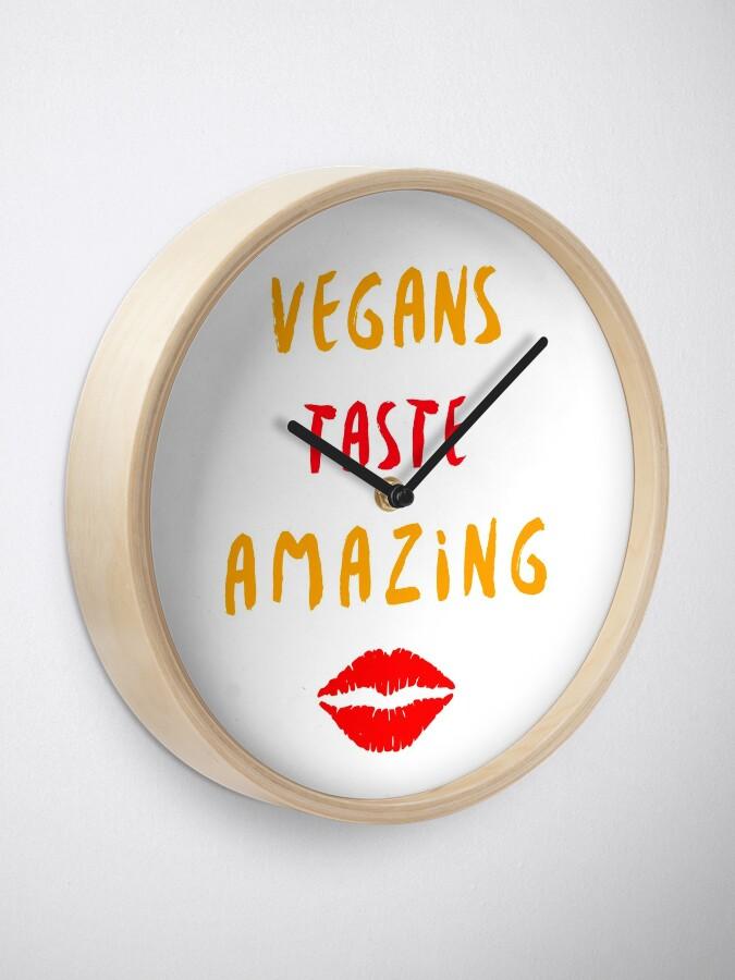 Alternate view of Vegans Taste Amazing with Lips Clock
