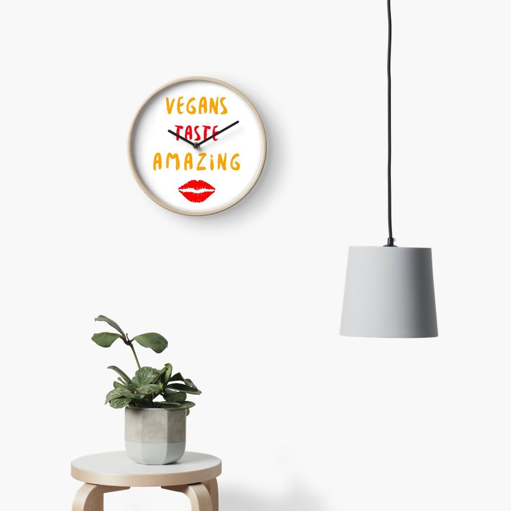 Vegans Taste Amazing with Lips Clock