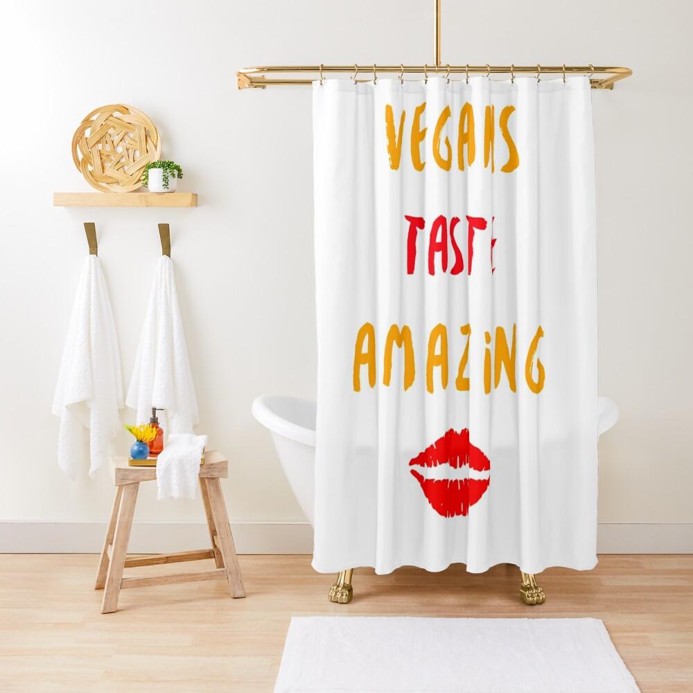 Vegans Taste Amazing with Lips Shower Curtain