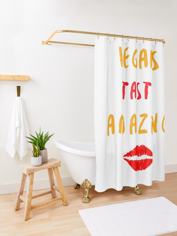 Alternate view of Vegans Taste Amazing with Lips Shower Curtain