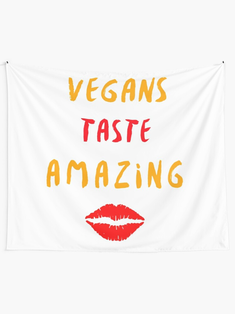 Alternate view of Vegans Taste Amazing with Lips Tapestry