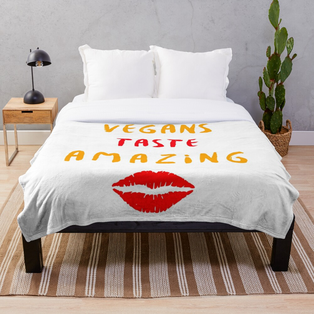 Vegans Taste Amazing with Lips Throw Blanket