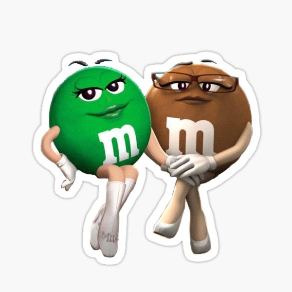 Brown and Green M&M Sticker