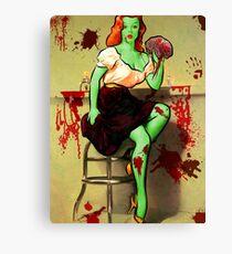 BRAINS! Zombie Pinup Canvas Print