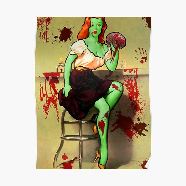 BRAINS! Zombie Pinup Poster