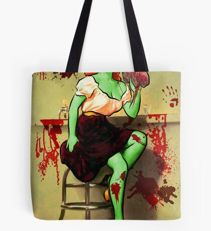 BRAINS! Zombie Pinup Tote Bag