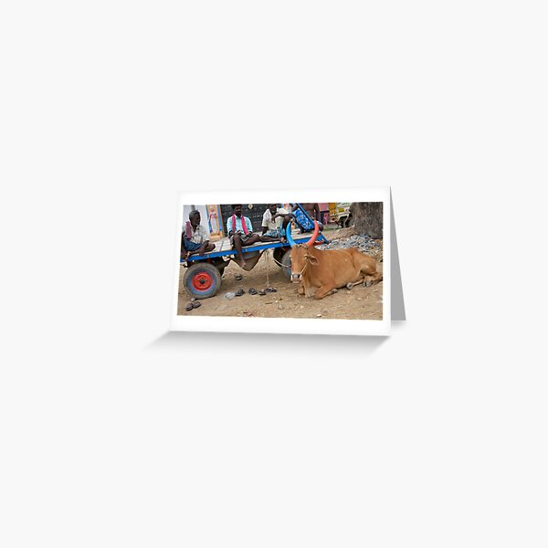 6 shoes, red and blue horns Greeting Card