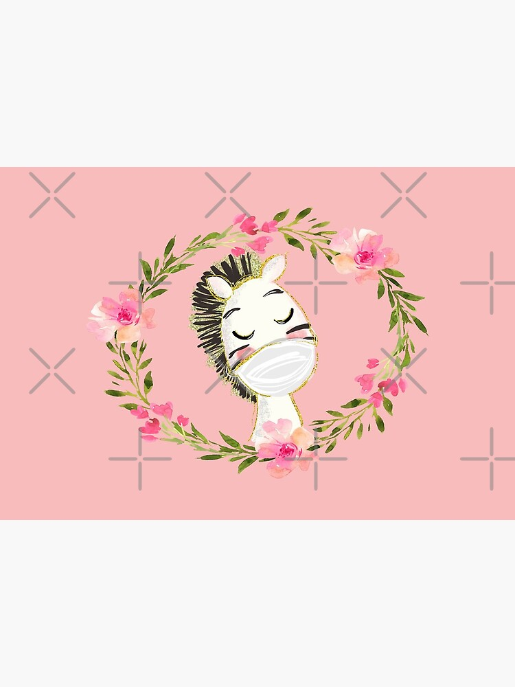 Cute Baby Zebra with Face Mask and Flowers by mexicandoo