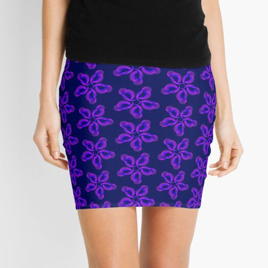 Spiral Pink Blue Abstract Flowers Mini Skirt