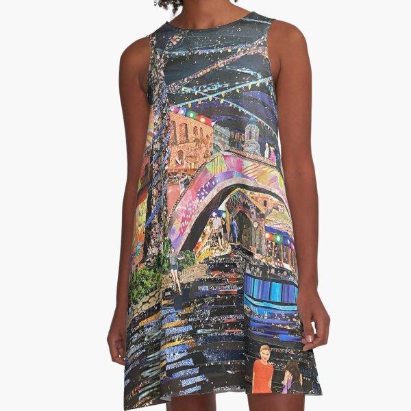 San Antonio Riverwalk collage A-Line Dress