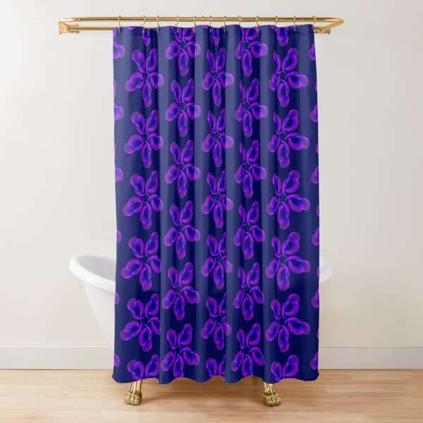 Spiral Pink Blue Abstract Flowers Shower Curtain