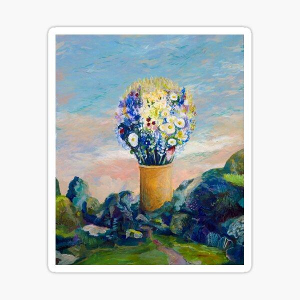 Gigantischer Blumenstrauß in der Landschaft Sticker