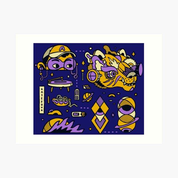 Purple Wolf Pack Art Print