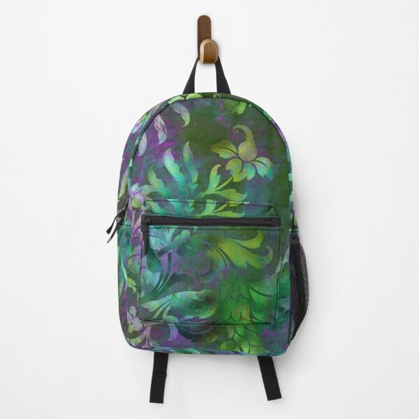 Jungle Floral Neck Gator Green and Purple Jungle Flowers Backpack