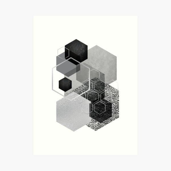 Black and Silver Geometric Art Print