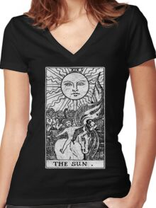 The Sun Tarot Card - Major Arcana - fortune telling - occult Women's Fitted V-Neck T-Shirt