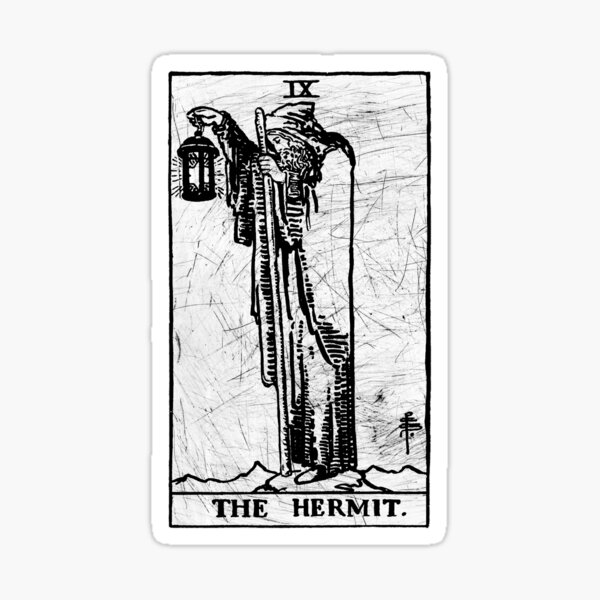 The Hermit Tarot Card - Major Arcana - fortune telling - occult Sticker