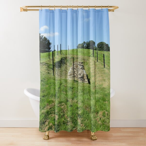 Merch #100 -- Fenced Off Rock Remains (Hadrian's Wall) Shower Curtain