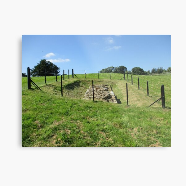 Merch #100 -- Fenced Off Rock Remains (Hadrian's Wall) Metal Print
