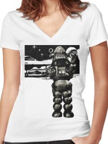 Robby the Robot 2 Women's Fitted V-Neck T-Shirt