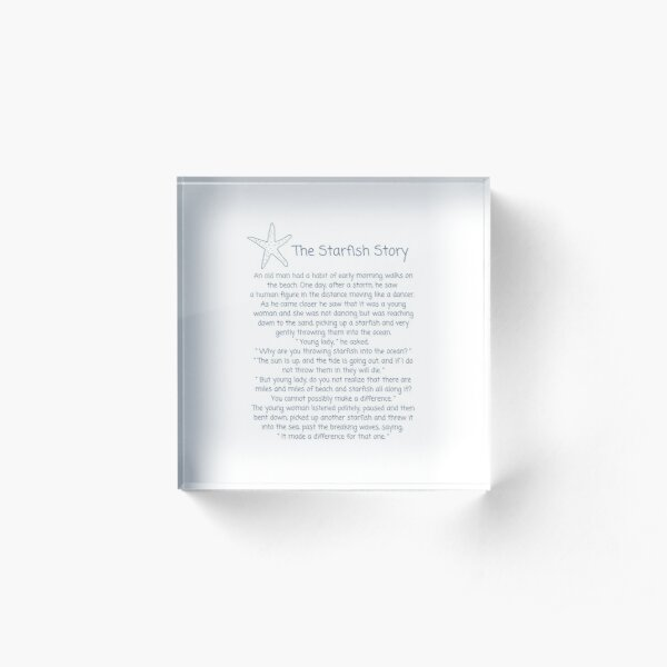 The Starfish Story, How To Make A Difference Acrylic Block
