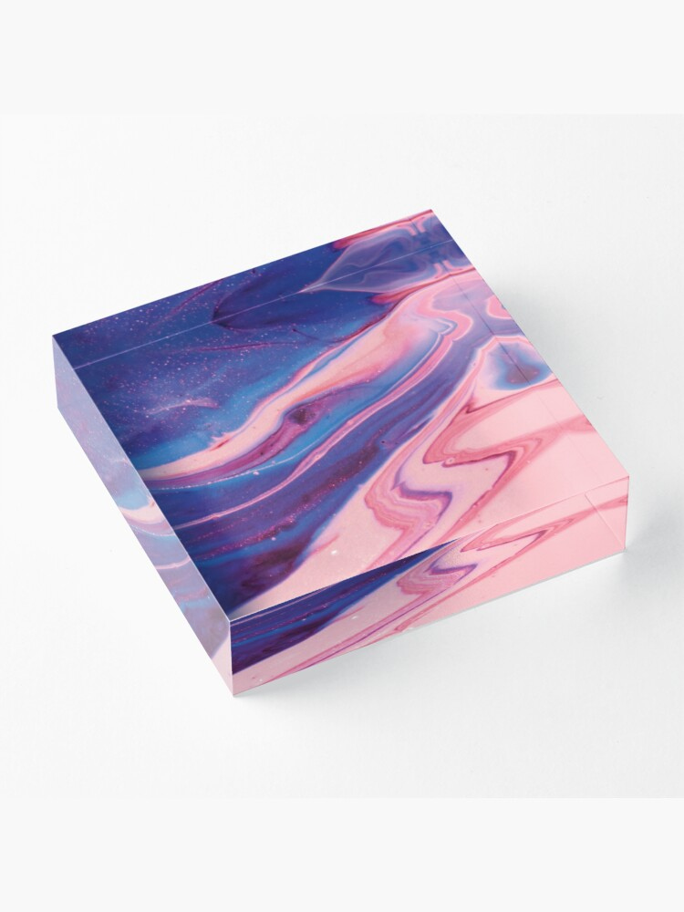 Alternate view of Texture pink and blue paint pattern Acrylic Block