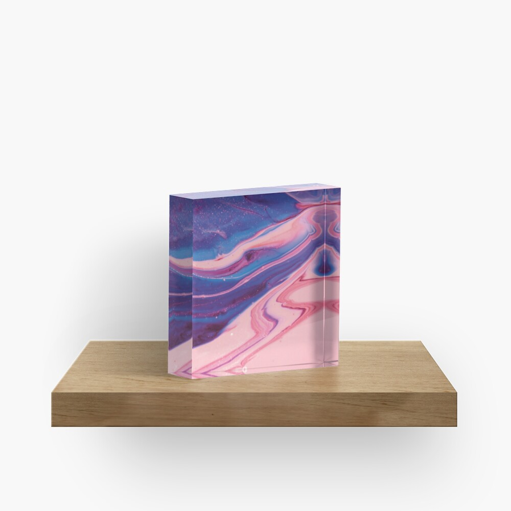 Texture pink and blue paint pattern Acrylic Block