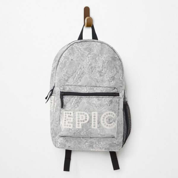 Silver and White Marble Texture with Text Backpack