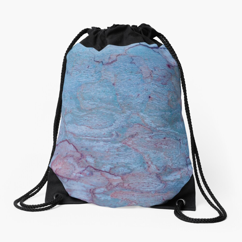 Texture blue stone structure Drawstring Bag