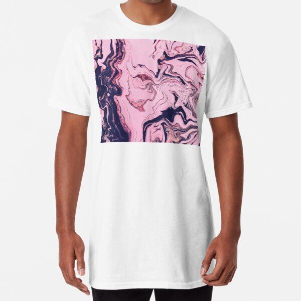 Texture pink marble paint structure Long T-Shirt