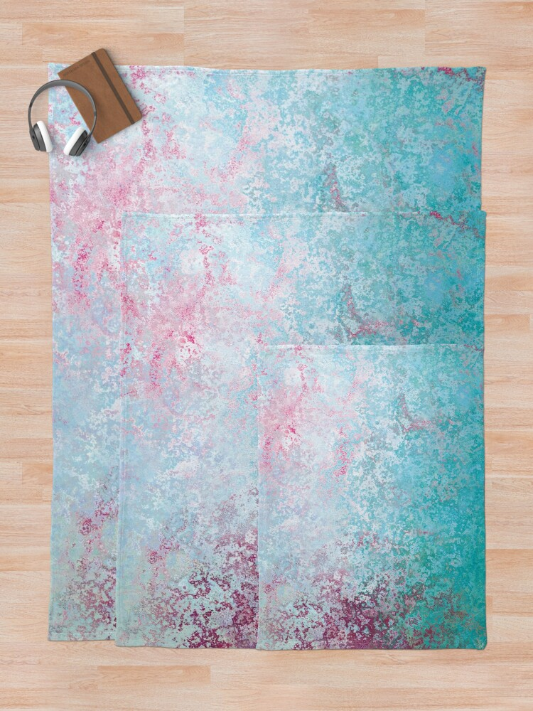 Alternate view of Texture pink and green colored concreet Throw Blanket