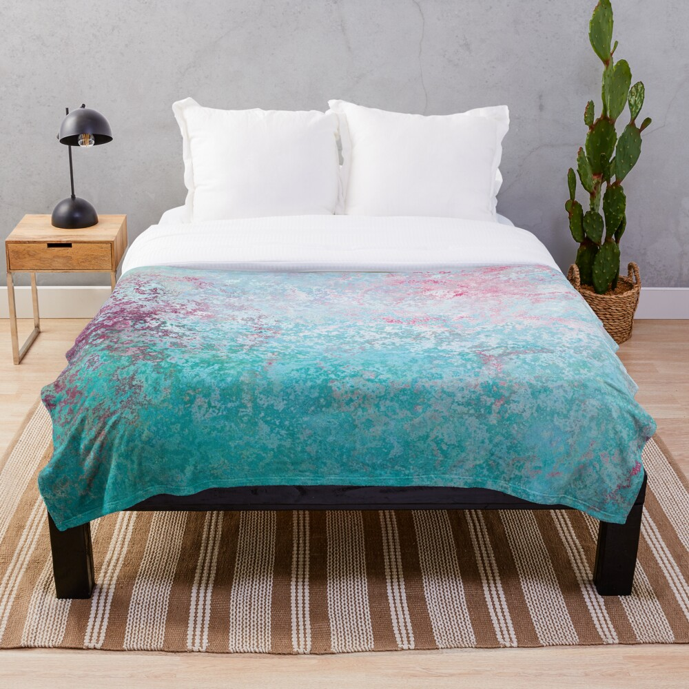 Texture pink and green colored concreet Throw Blanket