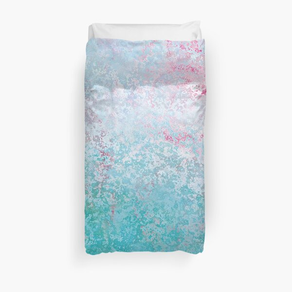 Texture pink and green colored concreet Duvet Cover