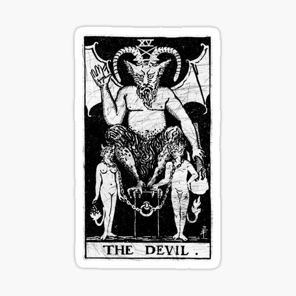 The Devil Tarot Card - Major Arcana - fortune telling - occult Sticker