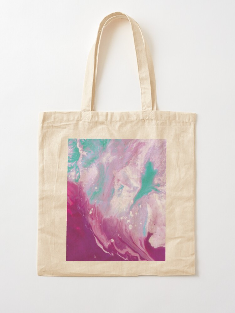 Alternate view of Texture purple and green marbled paint Tote Bag