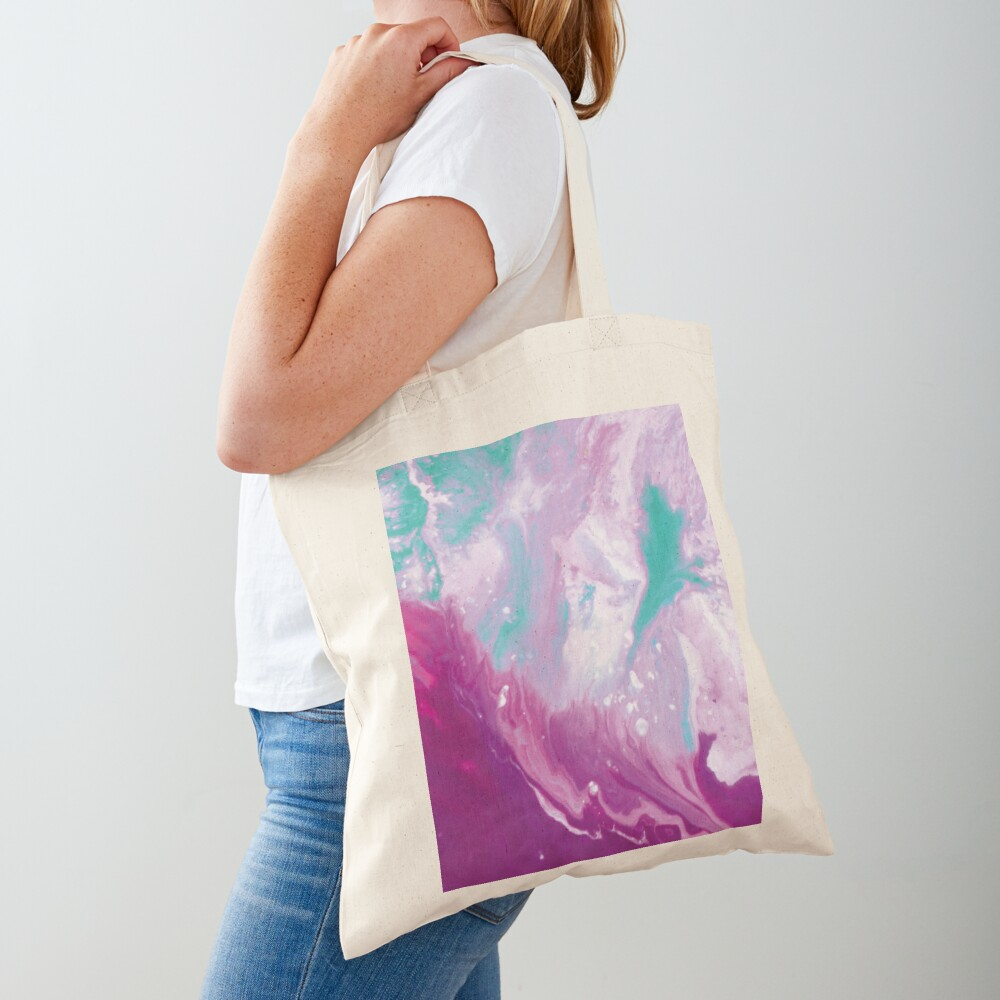 Texture purple and green marbled paint Tote Bag