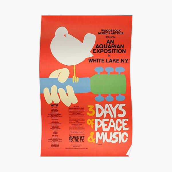 Woodstock 1969 Vintage Music Festival Art Póster