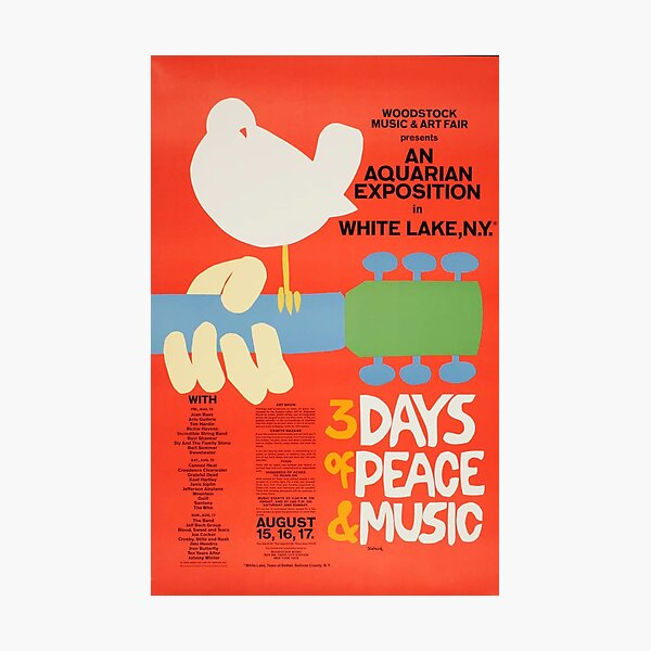 Woodstock 1969 Vintage Music Festival Art Photographic Print