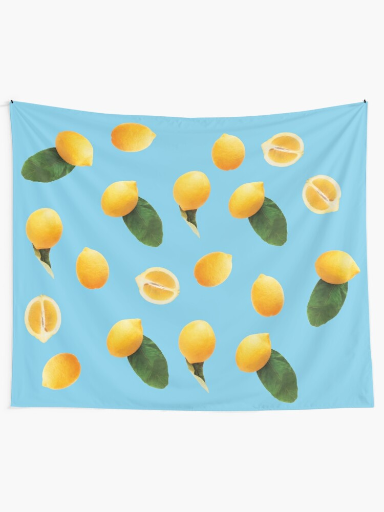 Alternate view of Pattern lemon party blue Tapestry