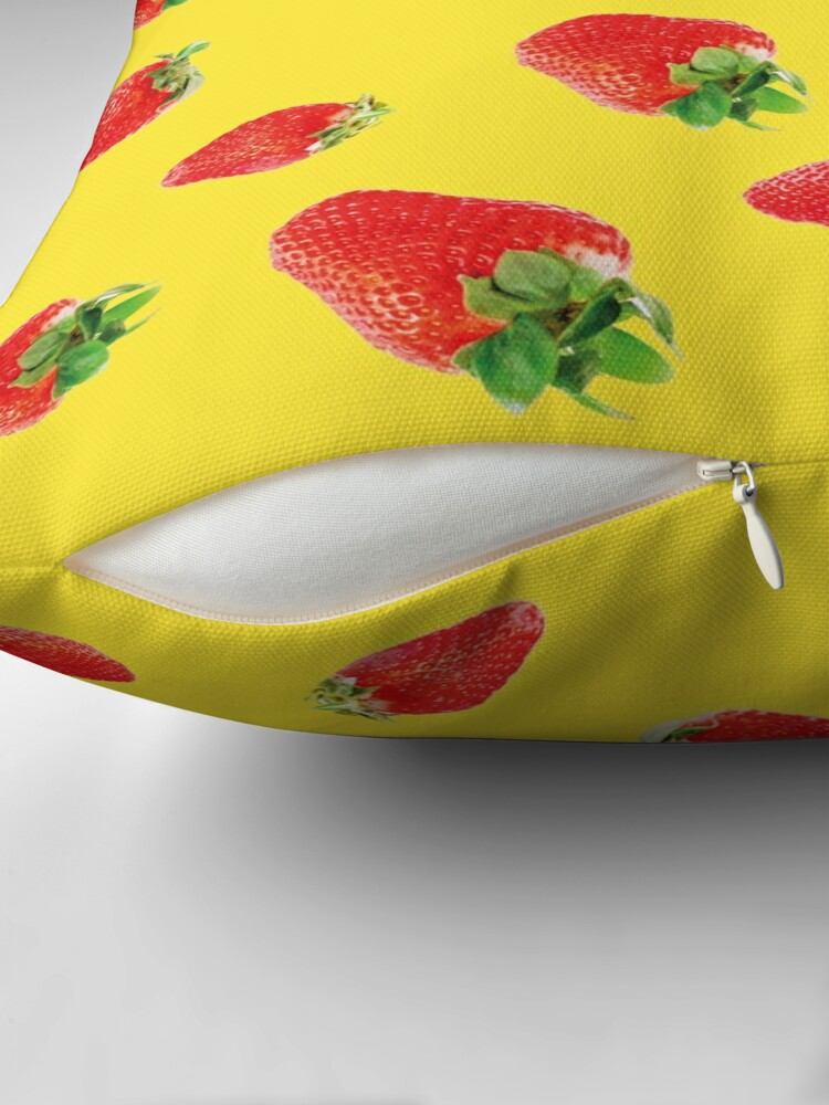 Alternate view of Pattern strawberry party yellow Throw Pillow