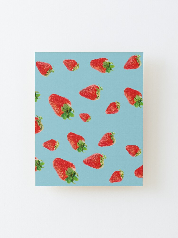 Alternate view of Pattern strawberry party blue Mounted Print