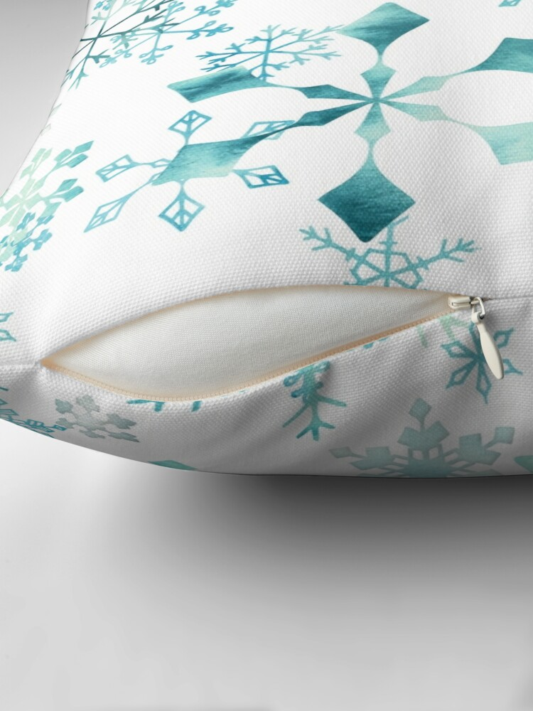 Alternate view of Snowflake Crystals on White Throw Pillow