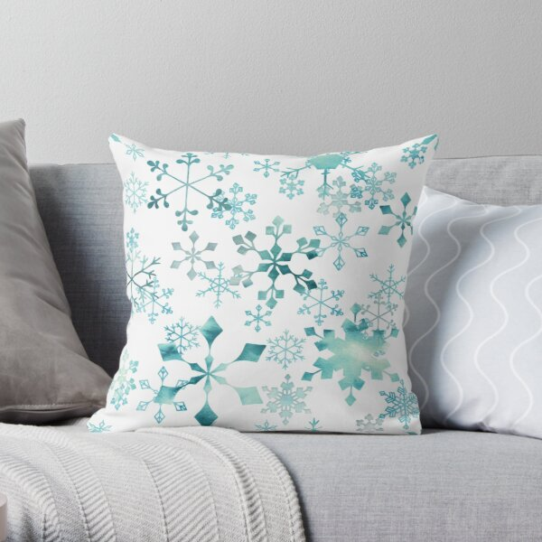 Snowflake Crystals on White Throw Pillow