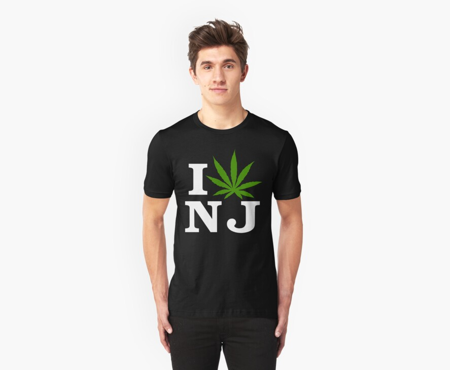 I Love New Jersey Marijuana Cannabis Weed T-Shirt by MarijuanaTshirt