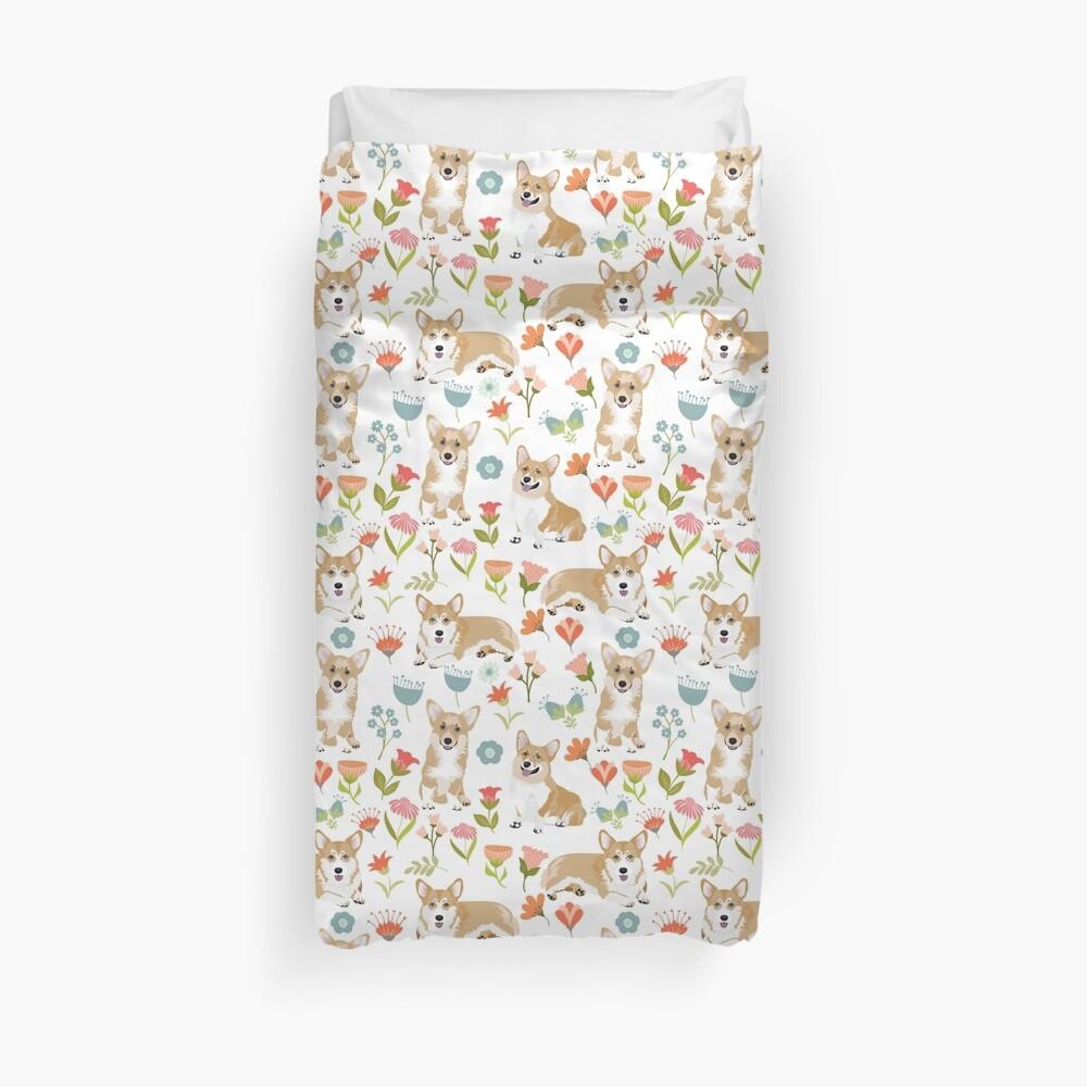 Summer Corgi And Flower Meadow Duvet Cover