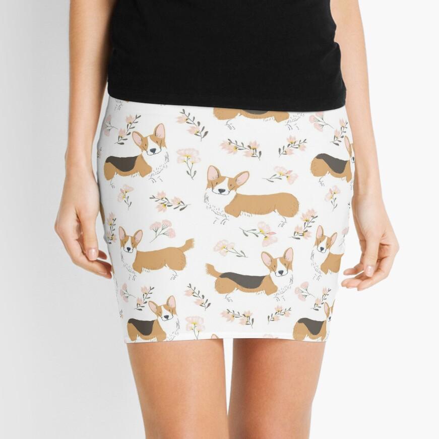 Corgi Summer Flowers Meadow Mini Skirt