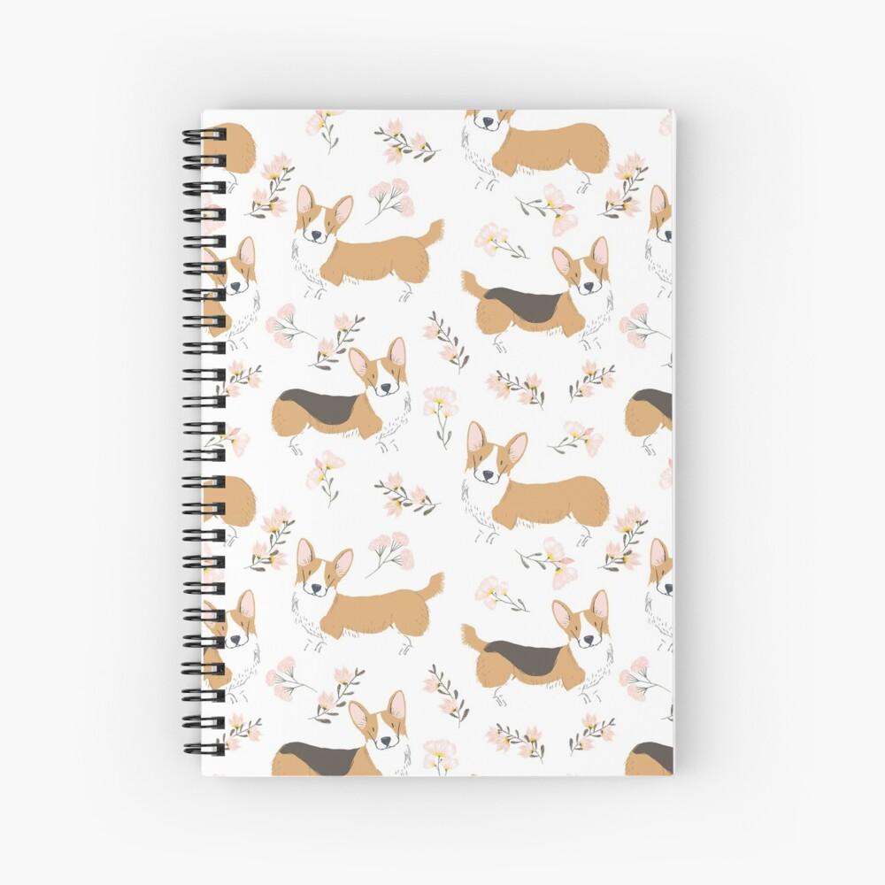Corgi Summer Flowers Meadow Spiral Notebook