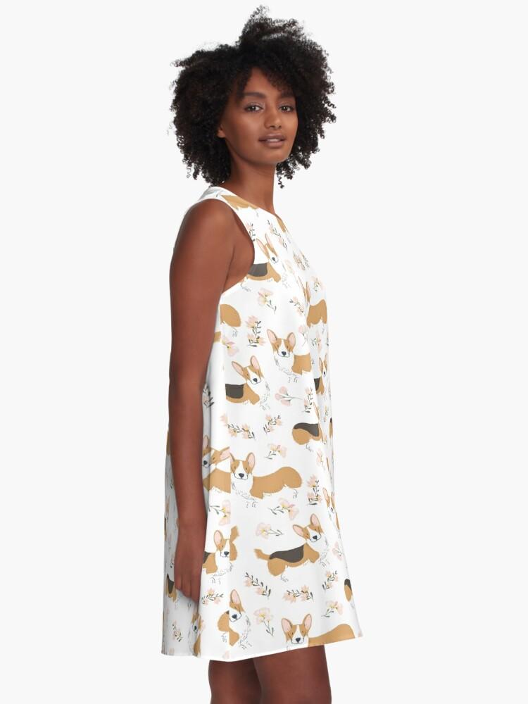 Alternate view of Corgi Summer Flowers Meadow A-Line Dress