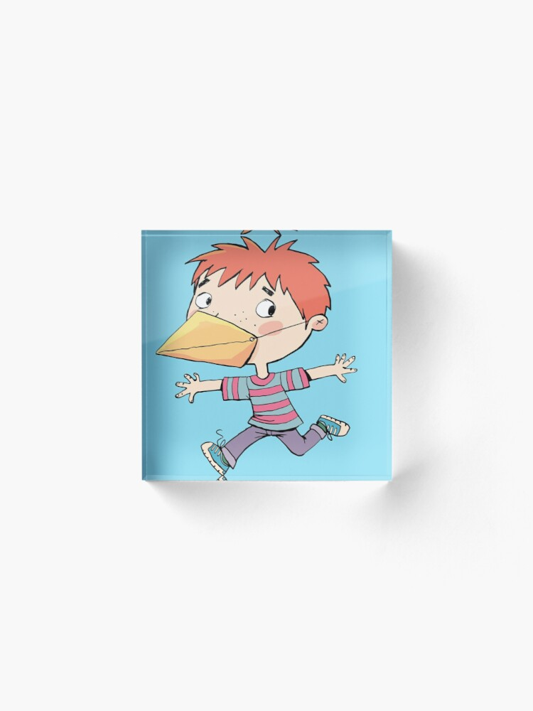Alternate view of boy with a mask on his face that is a bird's beak Acrylic Block