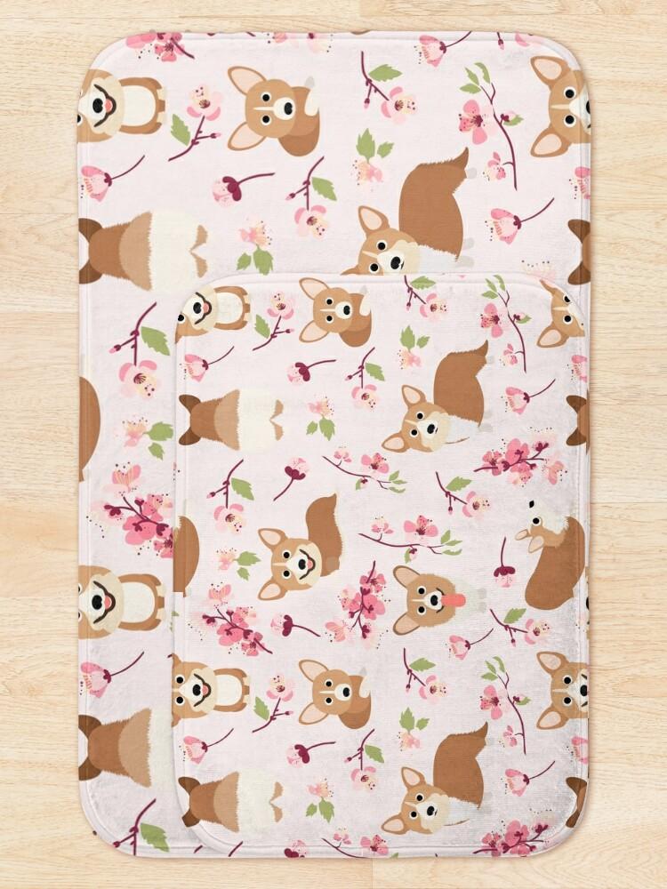 Alternate view of Corgis And Cherry Blossoms Sakura Pattern Bath Mat